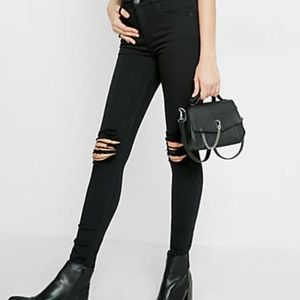 *NWT* Express Black High Waist Distressed Jeans